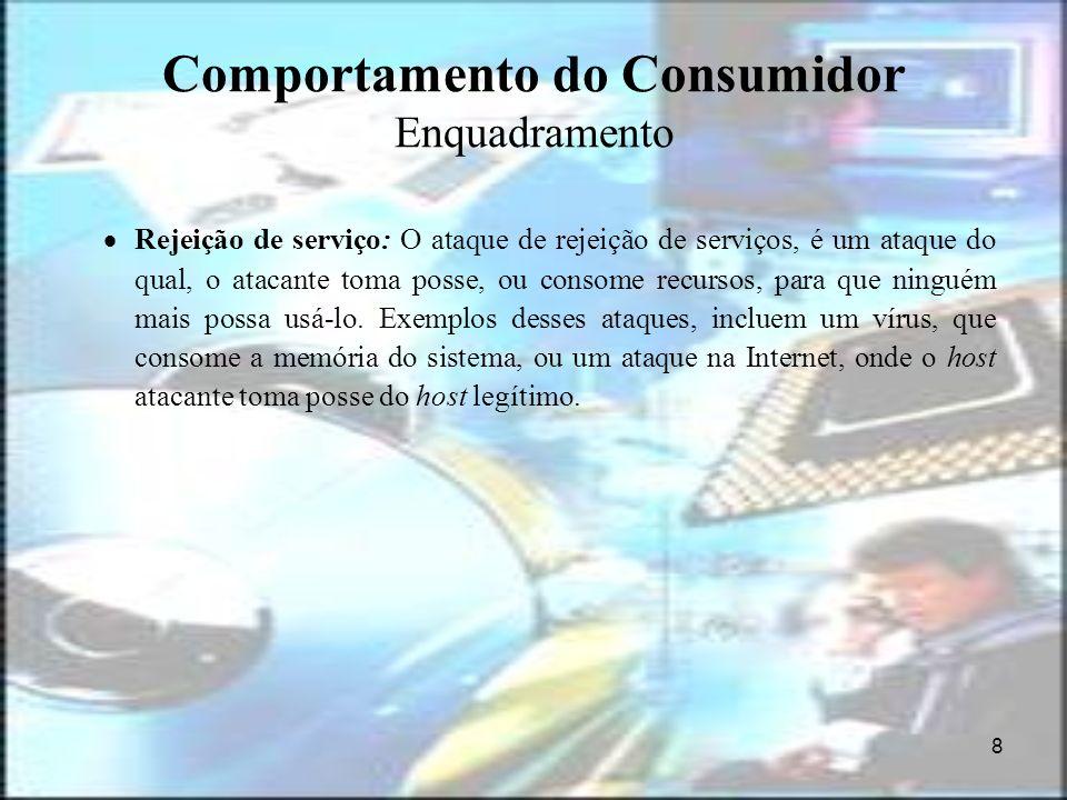 8 Comportamento do Consumidor Enquadramento Rejeição de serviço: O ataque de rejeição de serviços, é um ataque do qual, o atacante toma posse, ou cons