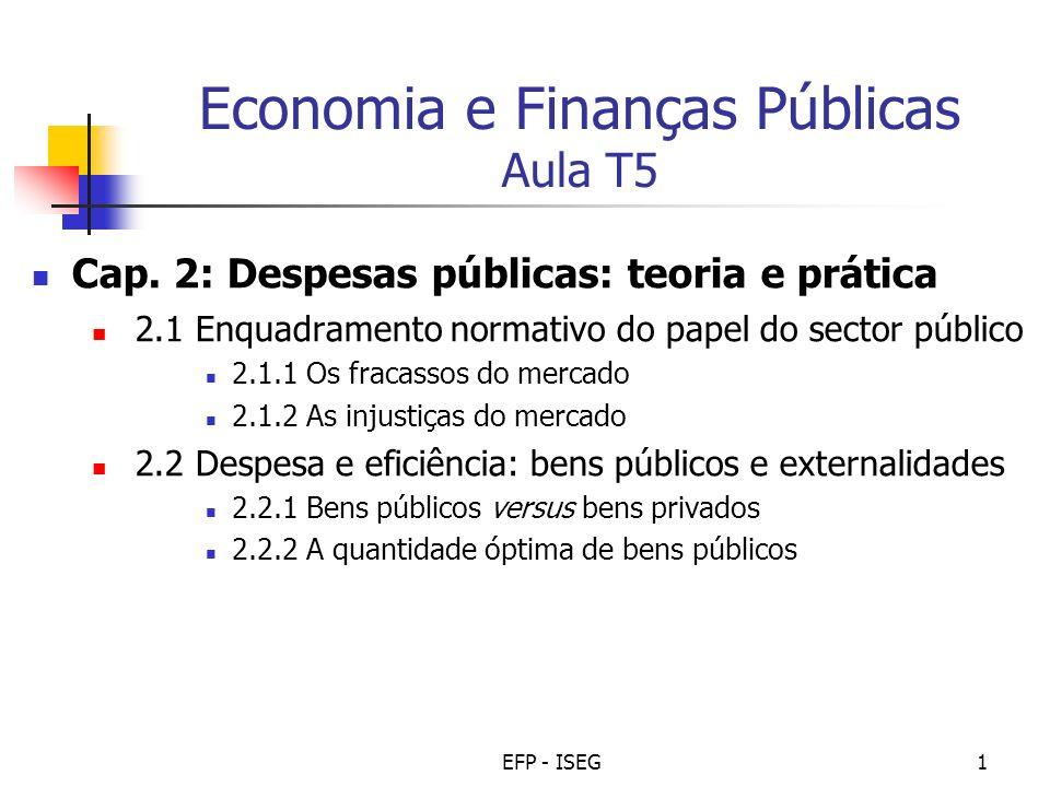 EFP - ISEG1 Economia e Finanças Públicas Aula T5 Cap. 2: Despesas públicas: teoria e prática 2.1 Enquadramento normativo do papel do sector público 2.
