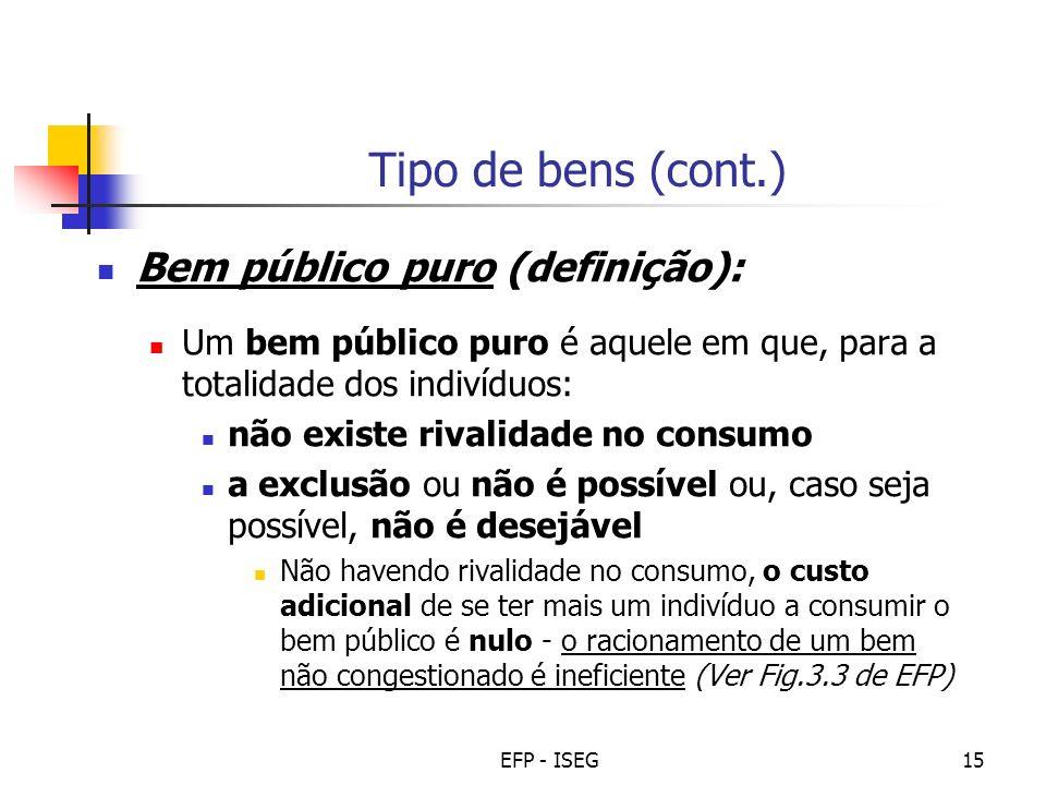 EFP - ISEG15 Tipo de bens (cont.) Bem público puro (definição): Um bem público puro é aquele em que, para a totalidade dos indivíduos: não existe riva