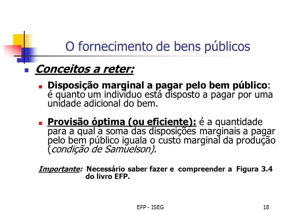 EFP - ISEG18 O fornecimento de bens públicos Conceitos a reter: Disposição marginal a pagar pelo bem público: é quanto um indivíduo está disposto a pa
