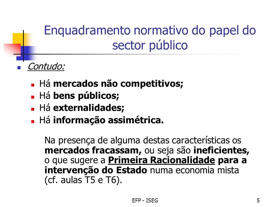 EFP - ISEG5 Enquadramento normativo do papel do sector público Contudo: Há mercados não competitivos; Há bens públicos; Há externalidades; Há informaç