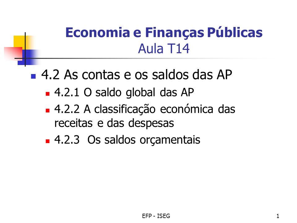 EFP - ISEG1 Economia e Finanças Públicas Aula T14 4.2 As contas e os saldos das AP 4.2.1 O saldo global das AP 4.2.2 A classificação económica das rec