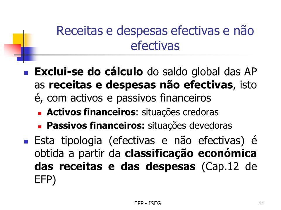 EFP - ISEG11 Receitas e despesas efectivas e não efectivas Exclui-se do cálculo do saldo global das AP as receitas e despesas não efectivas, isto é, c