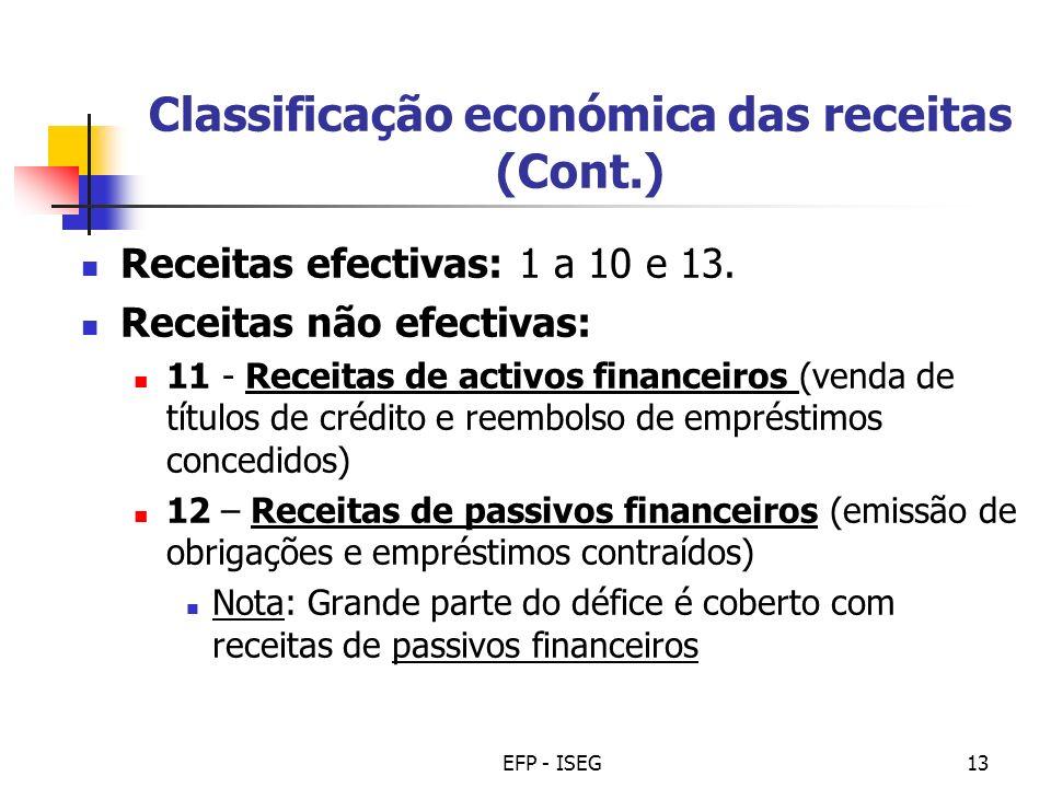 EFP - ISEG13 Classificação económica das receitas (Cont.) Receitas efectivas: 1 a 10 e 13. Receitas não efectivas: 11 - Receitas de activos financeiro