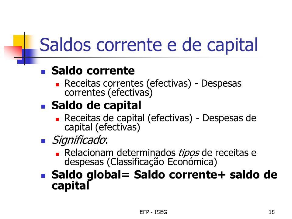 EFP - ISEG18 Saldos corrente e de capital Saldo corrente Receitas correntes (efectivas) - Despesas correntes (efectivas) Saldo de capital Receitas de
