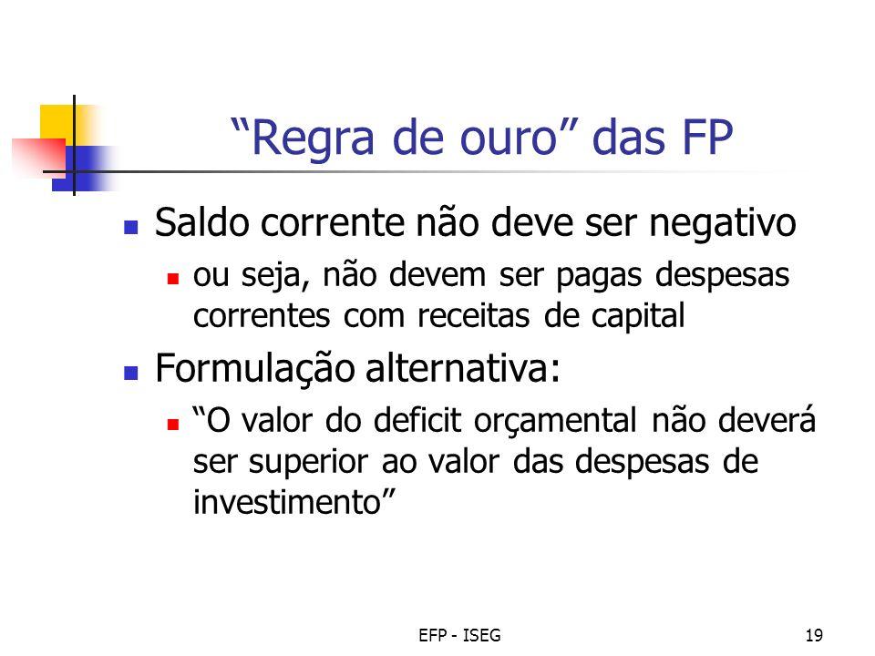EFP - ISEG19 Regra de ouro das FP Saldo corrente não deve ser negativo ou seja, não devem ser pagas despesas correntes com receitas de capital Formula