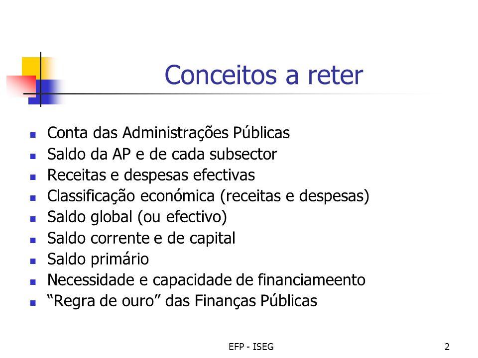 EFP - ISEG2 Conceitos a reter Conta das Administrações Públicas Saldo da AP e de cada subsector Receitas e despesas efectivas Classificação económica
