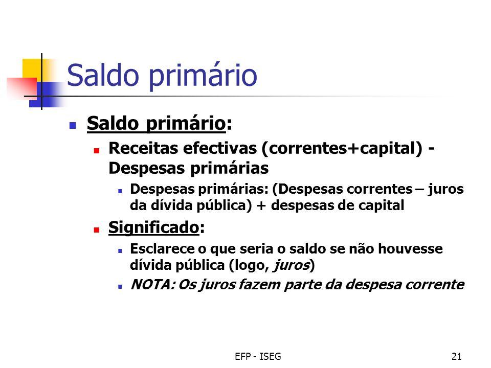 EFP - ISEG21 Saldo primário Saldo primário: Receitas efectivas (correntes+capital) - Despesas primárias Despesas primárias: (Despesas correntes – juro