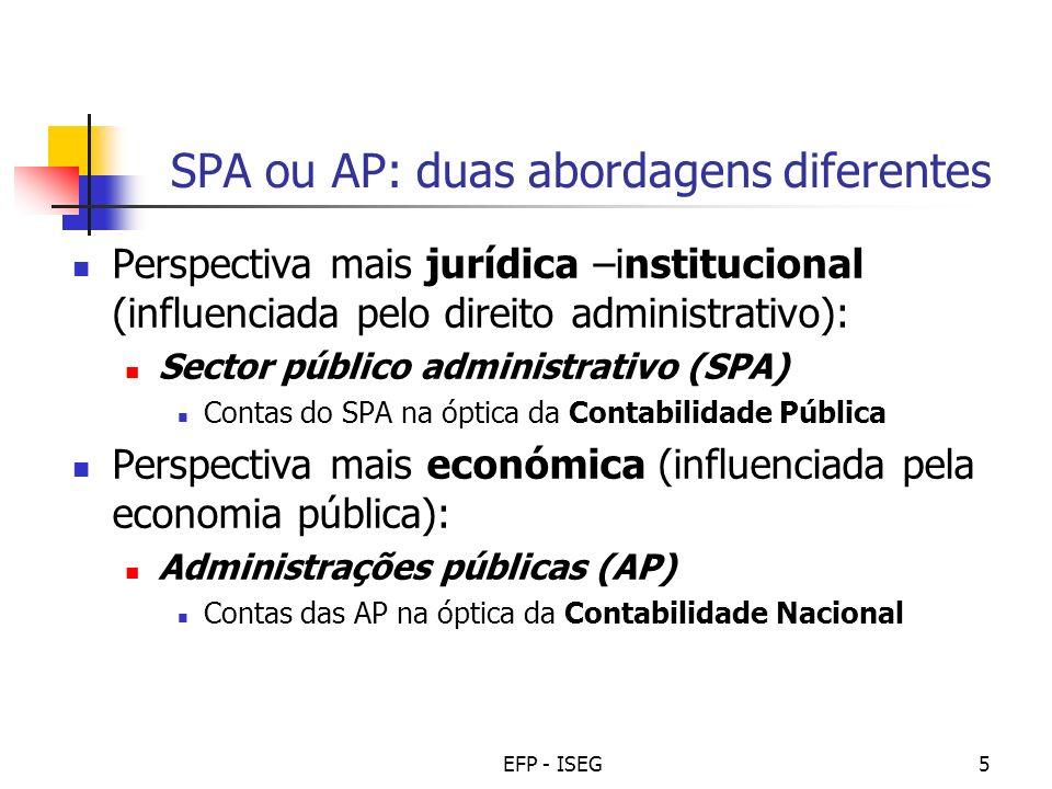 EFP - ISEG5 SPA ou AP: duas abordagens diferentes Perspectiva mais jurídica –institucional (influenciada pelo direito administrativo): Sector público