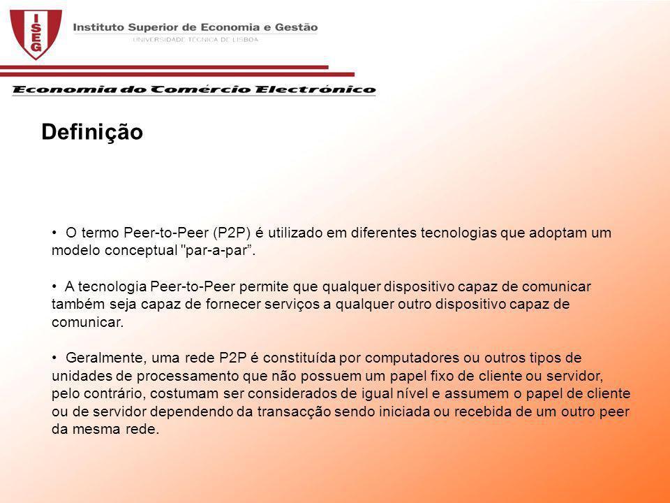 O termo Peer-to-Peer (P2P) é utilizado em diferentes tecnologias que adoptam um modelo conceptual