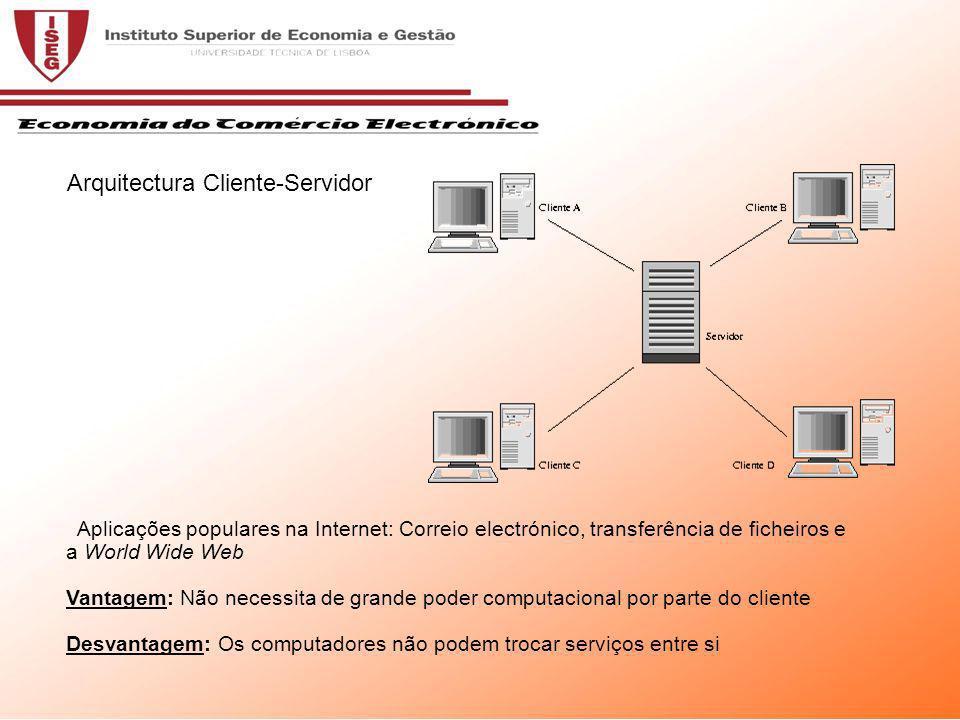Aplicações populares na Internet: Correio electrónico, transferência de ficheiros e a World Wide Web Vantagem: Não necessita de grande poder computacional por parte do cliente Desvantagem: Os computadores não podem trocar serviços entre si Arquitectura Cliente-Servidor