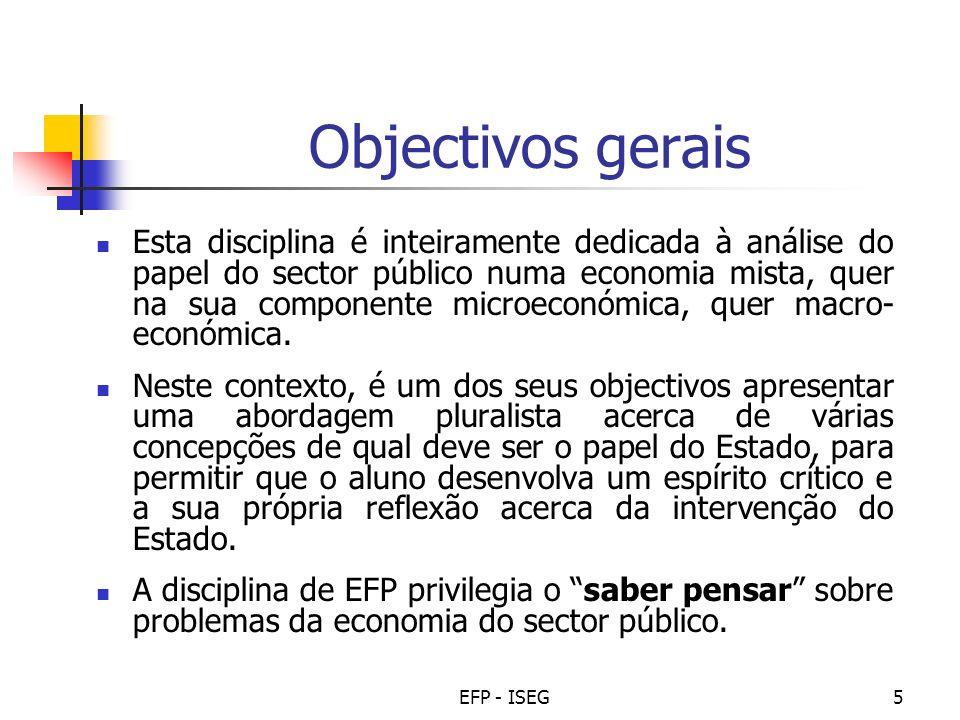 EFP - ISEG16 Programação (cont.) 921 Abr 22 Abr 23 Abr T16 - 4.1 - As administrações públicas Aula teórica: revisões Aula prática: TEM - correcção 1028 Abr 29 Abr 30 Abr T17 T18 P9 5.1 5.2 5.1/5.2 Noção de orçamento e ciclo orçamental Regras orçamentais Noção de orç.