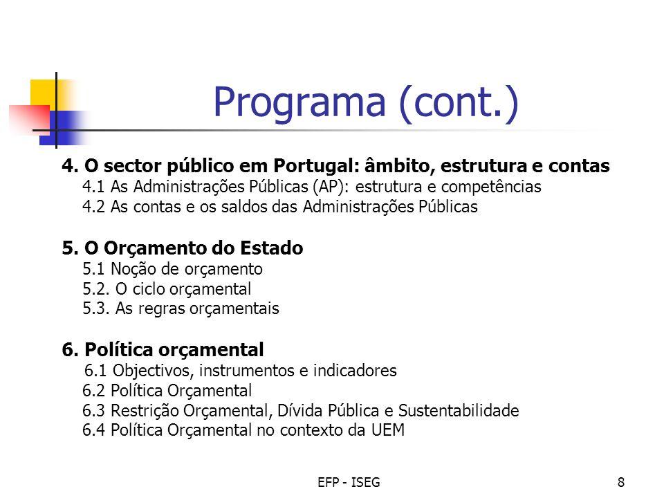 EFP - ISEG9 Bibliografia Obrigatória Teóricas: Livro Economia e Finanças Públicas, Paulo Trigo Pereira, António Afonso, Manuela Arcanjo, J.C.
