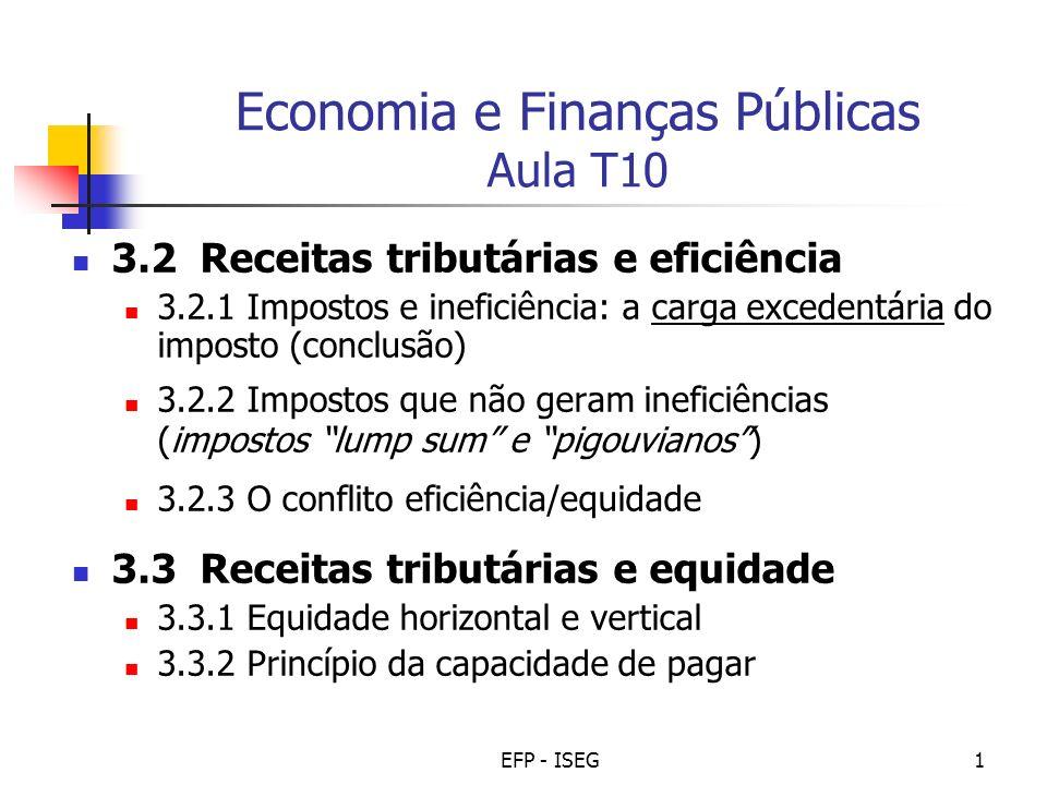 EFP - ISEG1 Economia e Finanças Públicas Aula T10 3.2 Receitas tributárias e eficiência 3.2.1 Impostos e ineficiência: a carga excedentária do imposto (conclusão) 3.2.2 Impostos que não geram ineficiências (impostos lump sum e pigouvianos) 3.2.3 O conflito eficiência/equidade 3.3 Receitas tributárias e equidade 3.3.1 Equidade horizontal e vertical 3.3.2 Princípio da capacidade de pagar