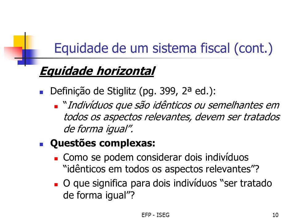 EFP - ISEG10 Equidade de um sistema fiscal (cont.) Equidade horizontal Definição de Stiglitz (pg.