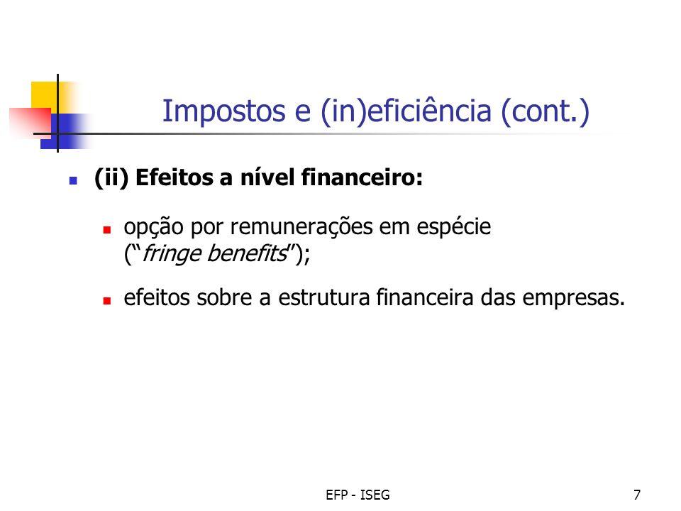 EFP - ISEG7 Impostos e (in)eficiência (cont.) (ii) Efeitos a nível financeiro: opção por remunerações em espécie (fringe benefits); efeitos sobre a estrutura financeira das empresas.