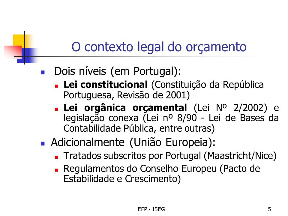 EFP - ISEG5 O contexto legal do orçamento Dois níveis (em Portugal): Lei constitucional (Constituição da República Portuguesa, Revisão de 2001) Lei or