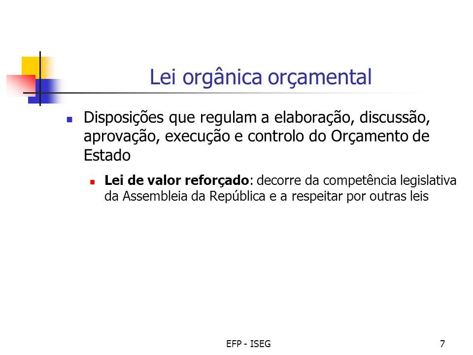EFP - ISEG7 Lei orgânica orçamental Disposições que regulam a elaboração, discussão, aprovação, execução e controlo do Orçamento de Estado Lei de valo