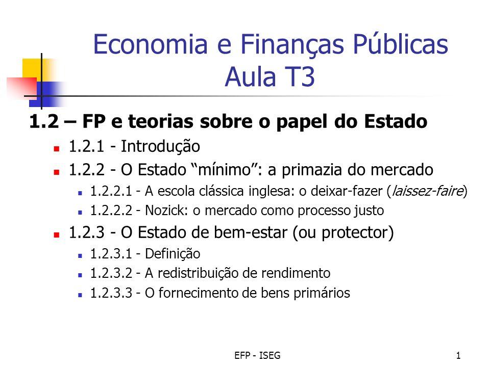 EFP - ISEG1 Economia e Finanças Públicas Aula T3 1.2 – FP e teorias sobre o papel do Estado 1.2.1 - Introdução 1.2.2 - O Estado mínimo: a primazia do