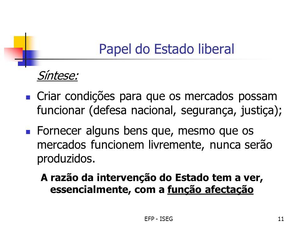 EFP - ISEG11 Papel do Estado liberal Síntese: Criar condições para que os mercados possam funcionar (defesa nacional, segurança, justiça); Fornecer al