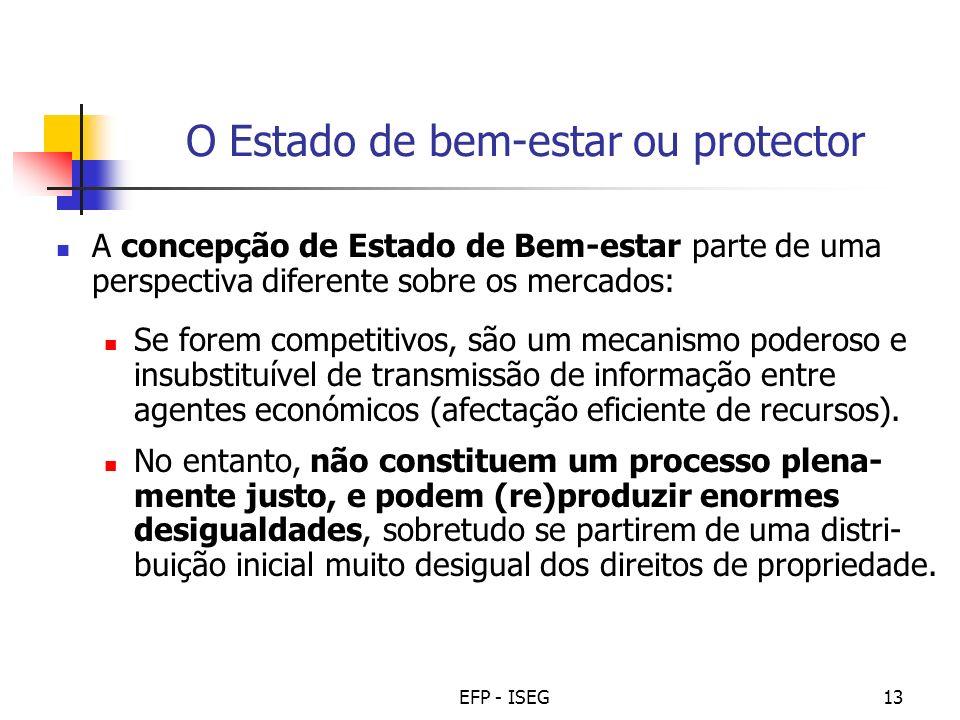 EFP - ISEG13 O Estado de bem-estar ou protector A concepção de Estado de Bem-estar parte de uma perspectiva diferente sobre os mercados: Se forem comp