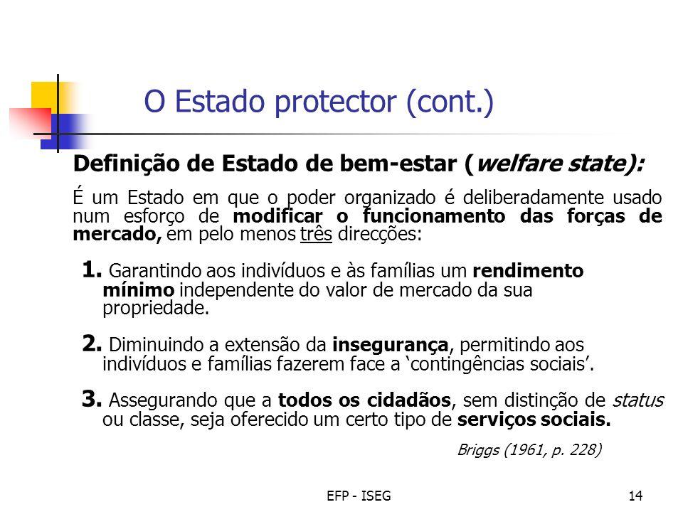 EFP - ISEG14 Definição de Estado de bem-estar (welfare state): É um Estado em que o poder organizado é deliberadamente usado num esforço de modificar