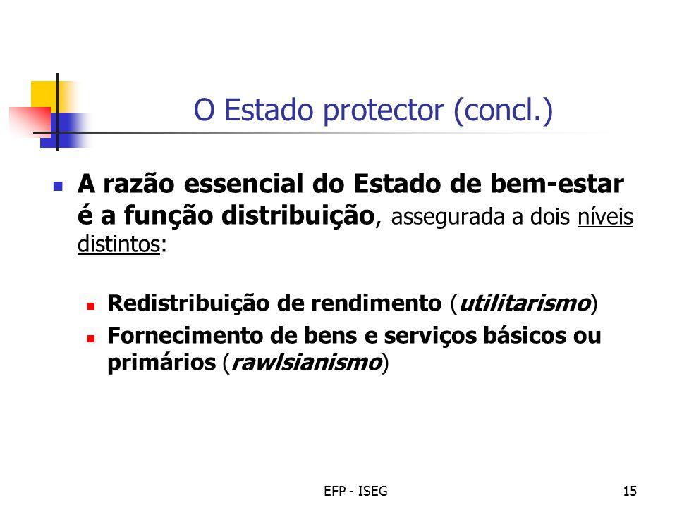 EFP - ISEG15 O Estado protector (concl.) A razão essencial do Estado de bem-estar é a função distribuição, assegurada a dois níveis distintos: Redistr