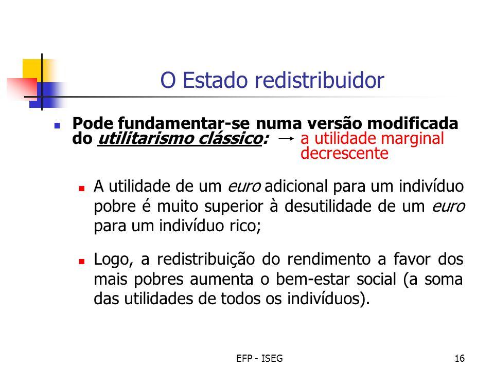EFP - ISEG16 O Estado redistribuidor Pode fundamentar-se numa versão modificada do utilitarismo clássico: a utilidade marginal decrescente A utilidade