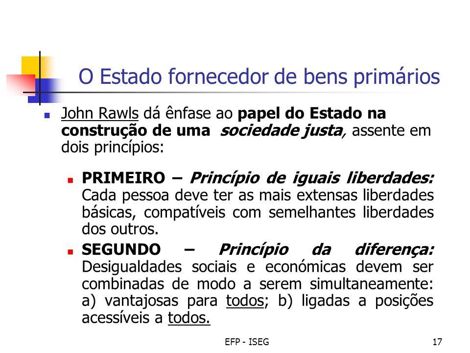 EFP - ISEG17 O Estado fornecedor de bens primários John Rawls dá ênfase ao papel do Estado na construção de uma sociedade justa, assente em dois princ