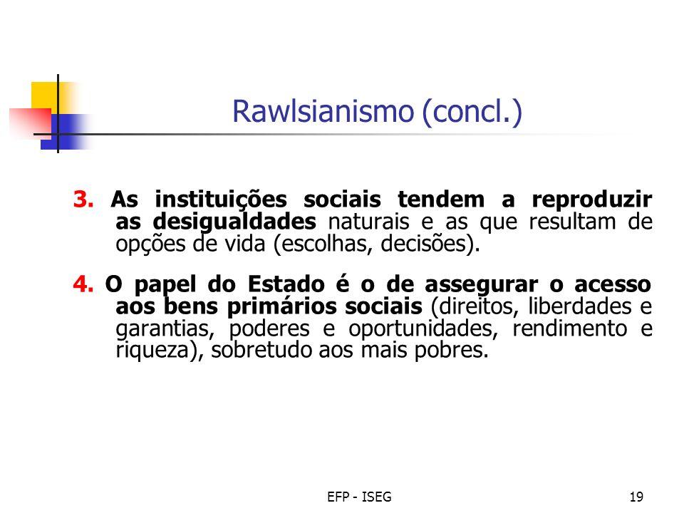 EFP - ISEG19 Rawlsianismo (concl.) 3. As instituições sociais tendem a reproduzir as desigualdades naturais e as que resultam de opções de vida (escol