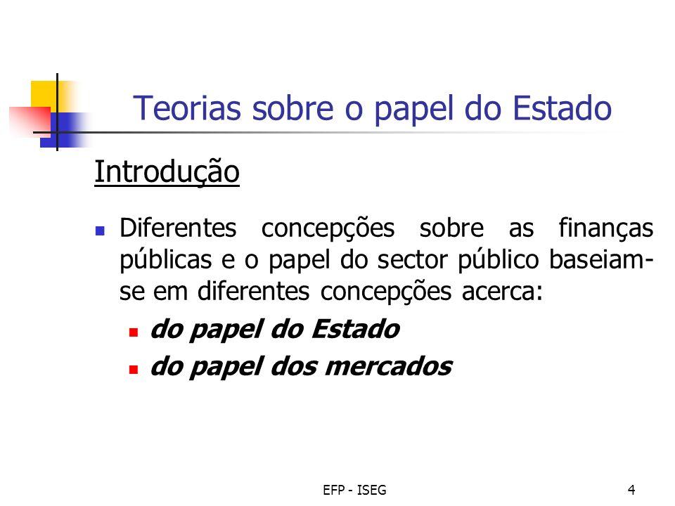 EFP - ISEG4 Teorias sobre o papel do Estado Introdução Diferentes concepções sobre as finanças públicas e o papel do sector público baseiam- se em dif