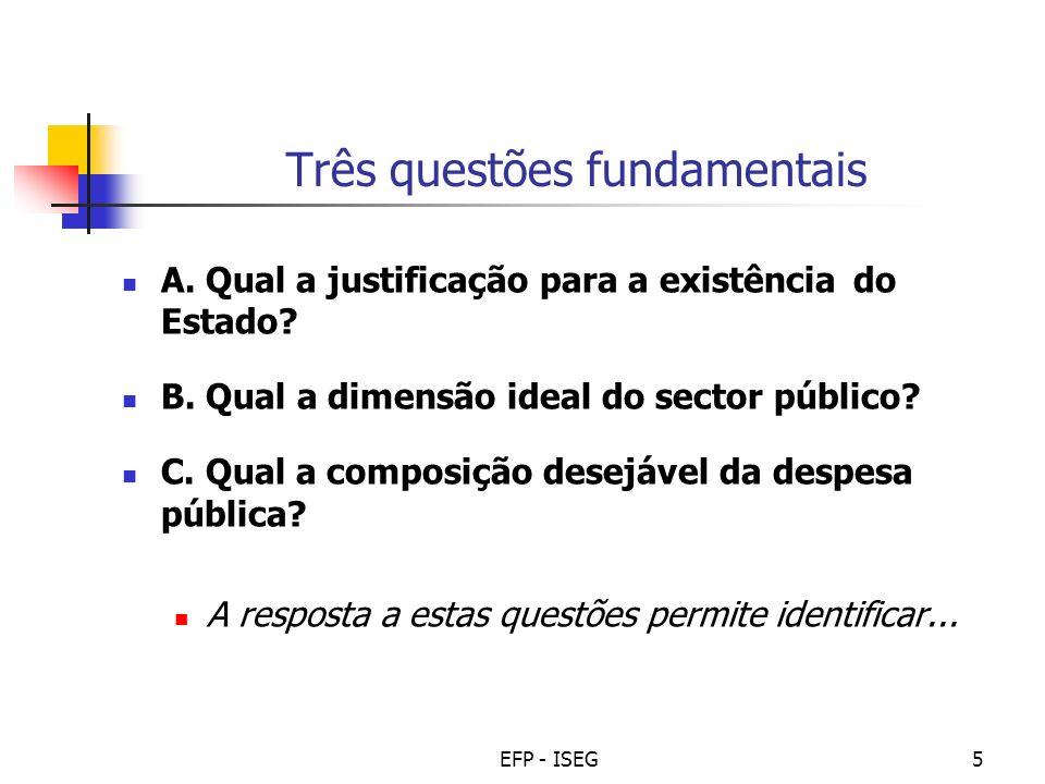 EFP - ISEG5 Três questões fundamentais A. Qual a justificação para a existência do Estado? B. Qual a dimensão ideal do sector público? C. Qual a compo