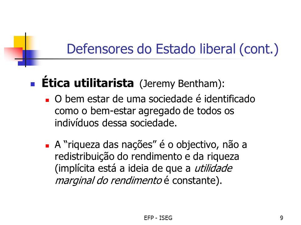 EFP - ISEG9 Defensores do Estado liberal (cont.) Ética utilitarista (Jeremy Bentham): O bem estar de uma sociedade é identificado como o bem-estar agr