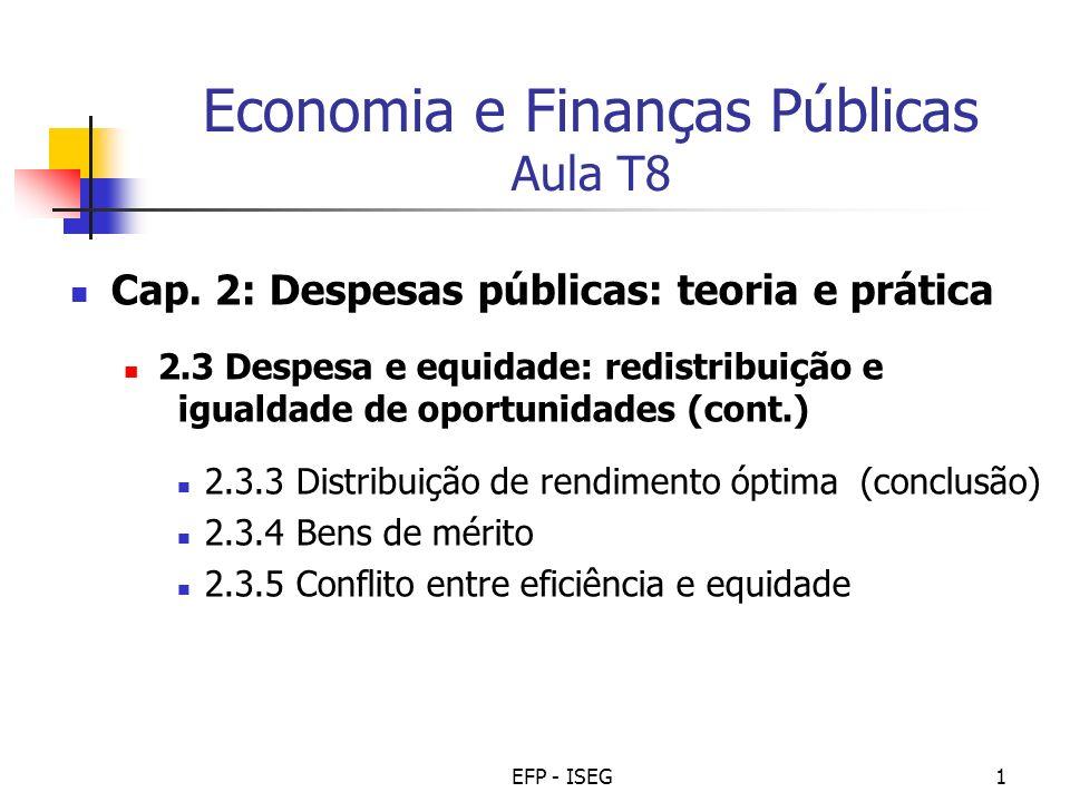 EFP - ISEG12 Bens de mérito (cont.) Provisão pública de bens de mérito O acesso a este tipo de bens deve ser (total ou tendencialmente) gratuito.