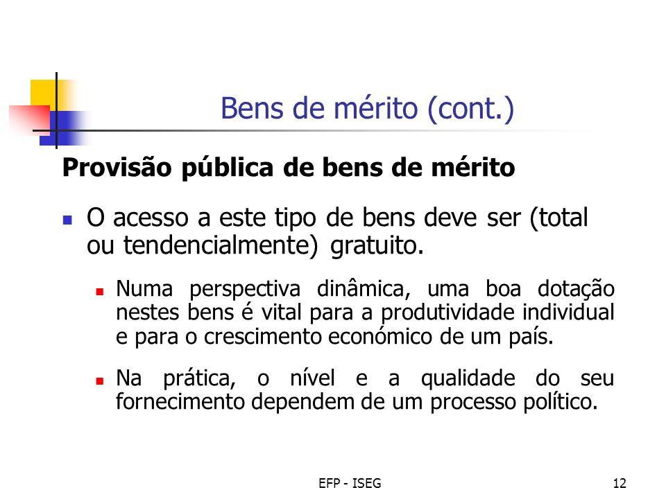 EFP - ISEG12 Bens de mérito (cont.) Provisão pública de bens de mérito O acesso a este tipo de bens deve ser (total ou tendencialmente) gratuito. Numa