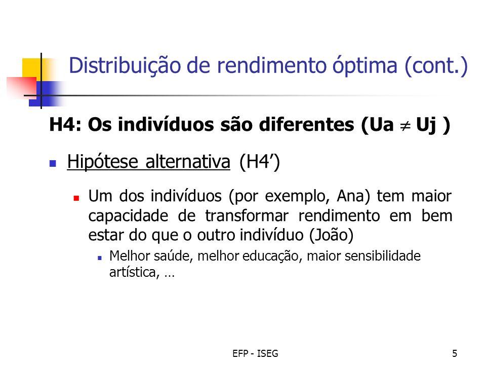 EFP - ISEG5 Distribuição de rendimento óptima (cont.) H4: Os indivíduos são diferentes (Ua Uj ) Hipótese alternativa (H4) Um dos indivíduos (por exemp