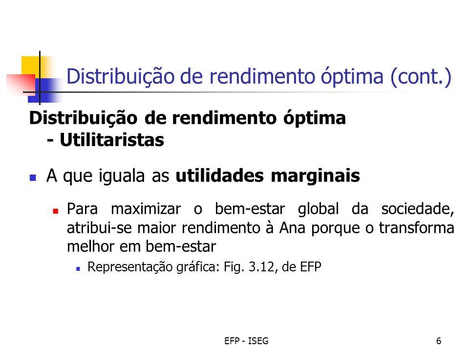 EFP - ISEG6 Distribuição de rendimento óptima (cont.) Distribuição de rendimento óptima - Utilitaristas A que iguala as utilidades marginais Para maxi