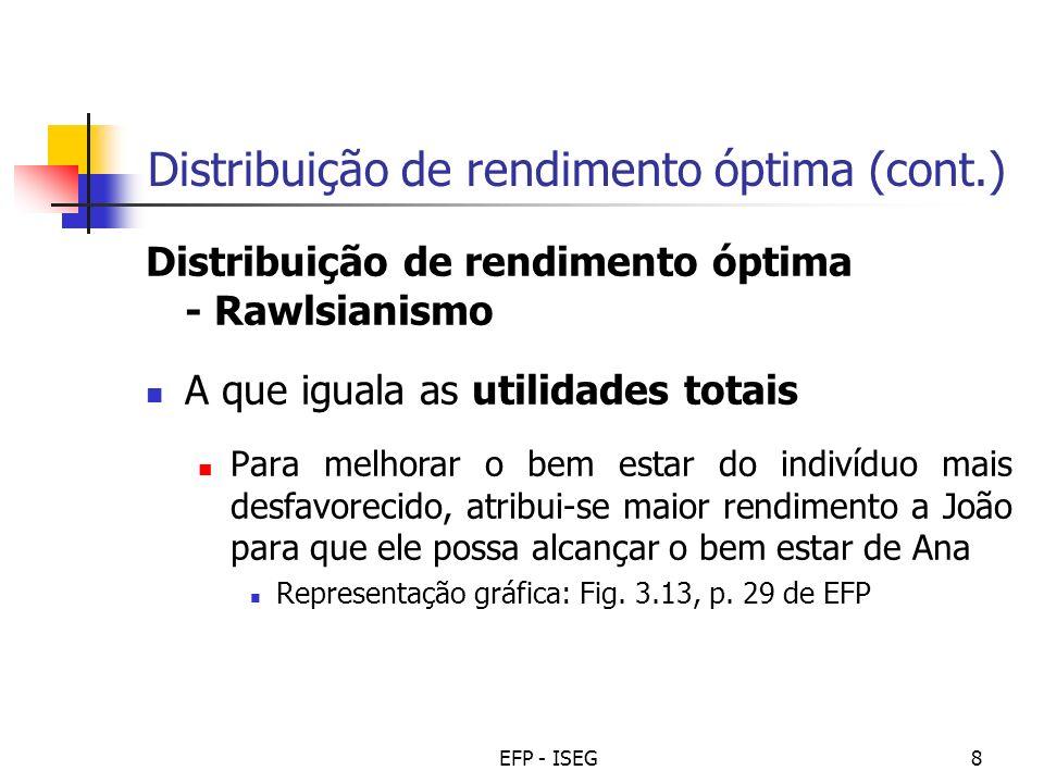 EFP - ISEG8 Distribuição de rendimento óptima (cont.) Distribuição de rendimento óptima - Rawlsianismo A que iguala as utilidades totais Para melhorar