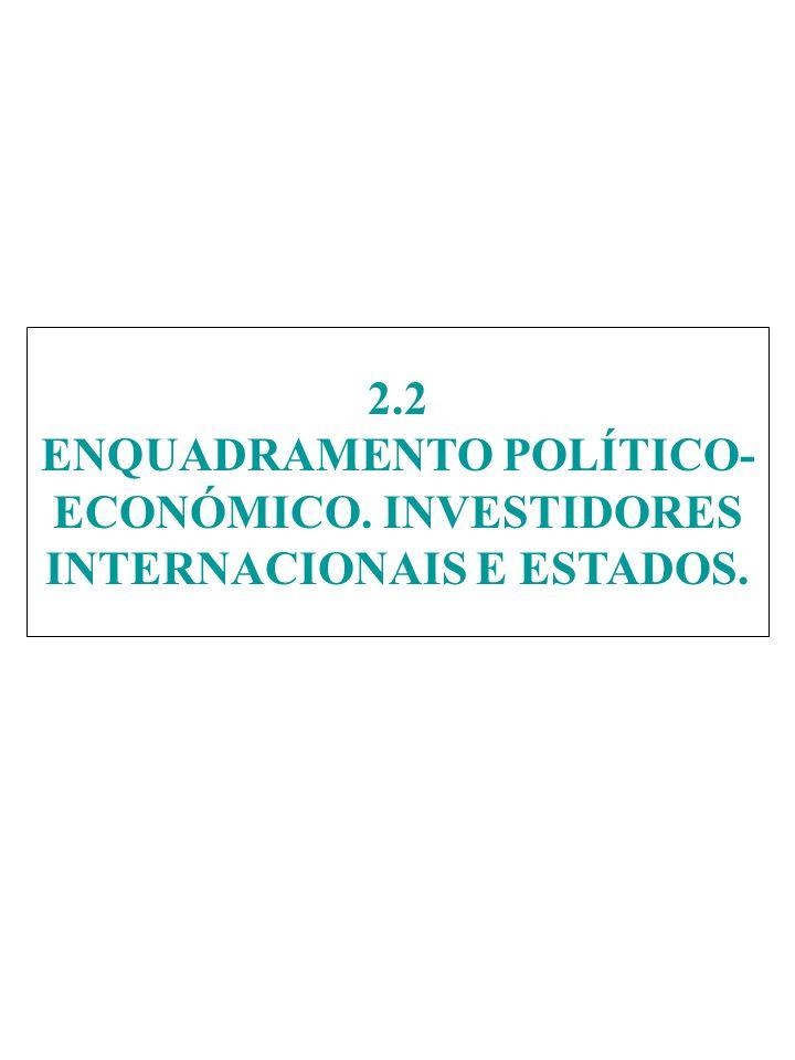 2.2 ENQUADRAMENTO POLÍTICO- ECONÓMICO. INVESTIDORES INTERNACIONAIS E ESTADOS.