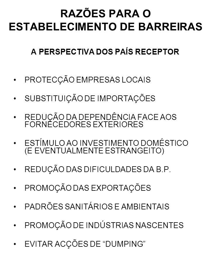 RAZÕES PARA O ESTABELECIMENTO DE BARREIRAS A PERSPECTIVA DOS PAÍS RECEPTOR PROTECÇÃO EMPRESAS LOCAIS SUBSTITUIÇÃO DE IMPORTAÇÕES REDUÇÃO DA DEPENDÊNCI