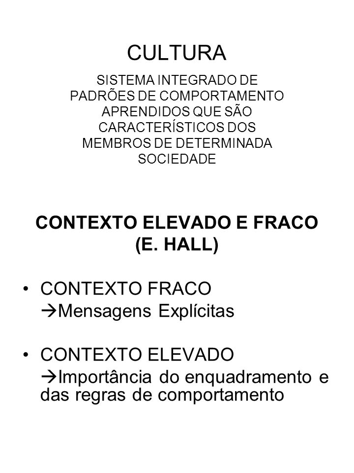 CULTURA SISTEMA INTEGRADO DE PADRÕES DE COMPORTAMENTO APRENDIDOS QUE SÃO CARACTERÍSTICOS DOS MEMBROS DE DETERMINADA SOCIEDADE CONTEXTO ELEVADO E FRACO