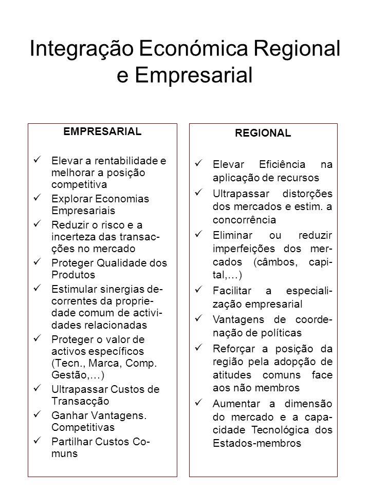 Integração Económica Regional e Empresarial EMPRESARIAL Elevar a rentabilidade e melhorar a posição competitiva Explorar Economias Empresariais Reduzi