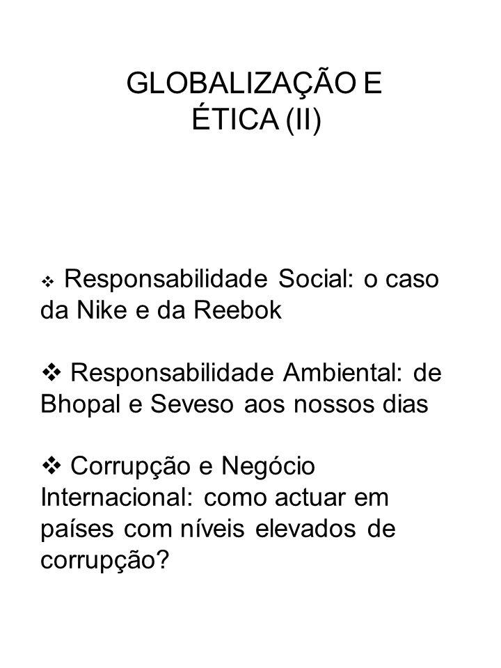 GLOBALIZAÇÃO E ÉTICA (II) Responsabilidade Social: o caso da Nike e da Reebok Responsabilidade Ambiental: de Bhopal e Seveso aos nossos dias Corrupção
