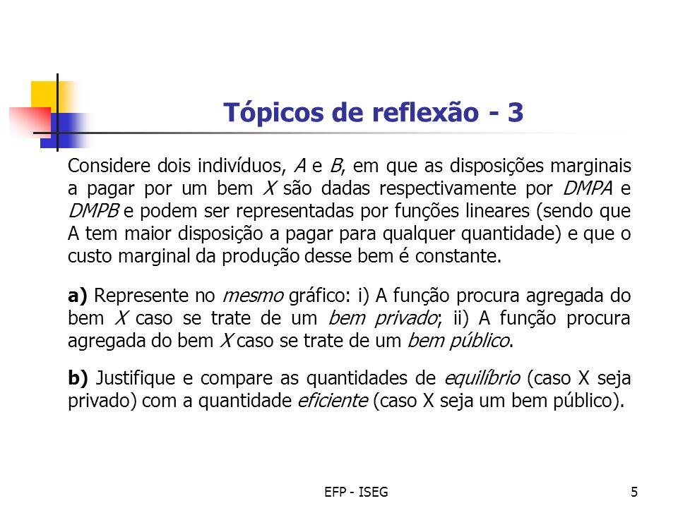 EFP - ISEG5 Tópicos de reflexão - 3 Considere dois indivíduos, A e B, em que as disposições marginais a pagar por um bem X são dadas respectivamente p