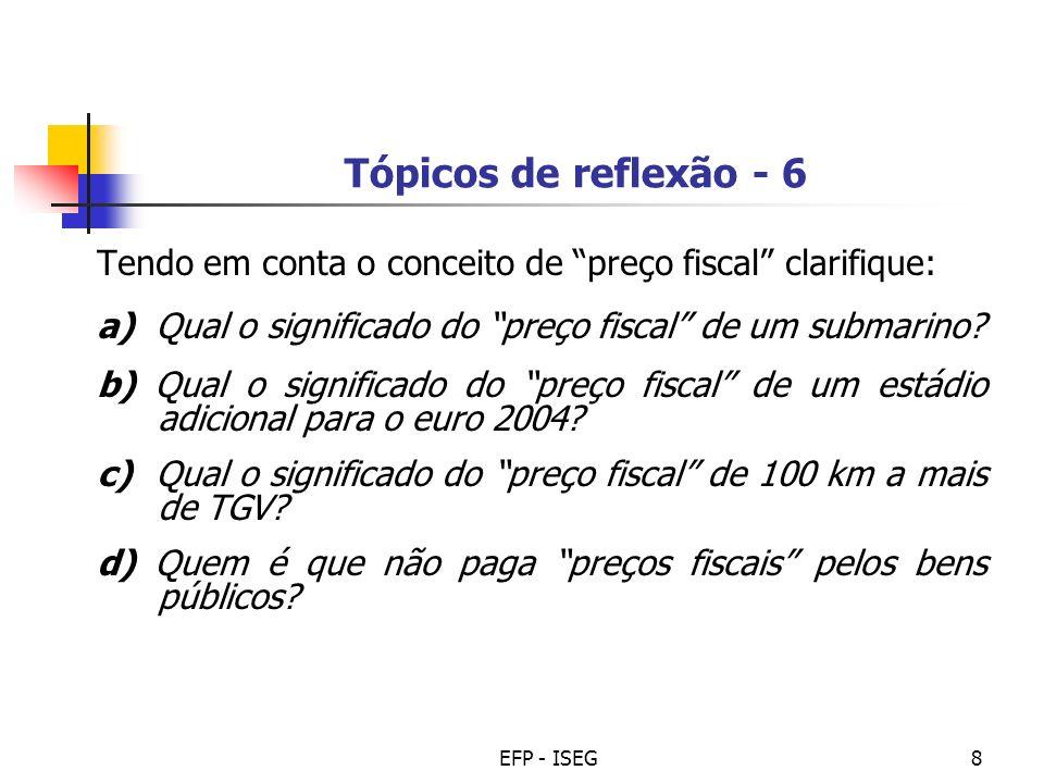 EFP - ISEG8 Tópicos de reflexão - 6 Tendo em conta o conceito de preço fiscal clarifique: a) Qual o significado do preço fiscal de um submarino? b) Qu