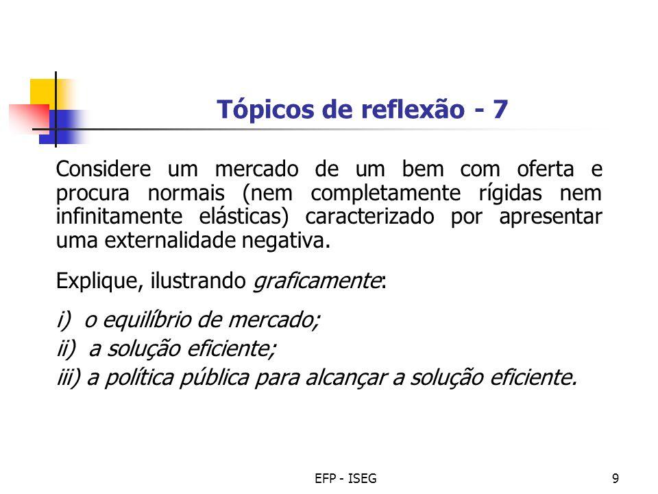EFP - ISEG9 Tópicos de reflexão - 7 Considere um mercado de um bem com oferta e procura normais (nem completamente rígidas nem infinitamente elásticas