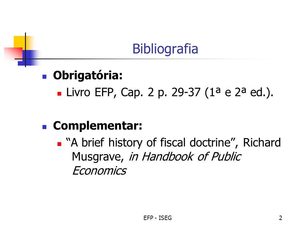 EFP - ISEG3 Conceitos a reter Estado imperfeito Finanças públicas clássicas Finanças públicas intervencionistas Constitucionalismo financeiro Finanças modernas