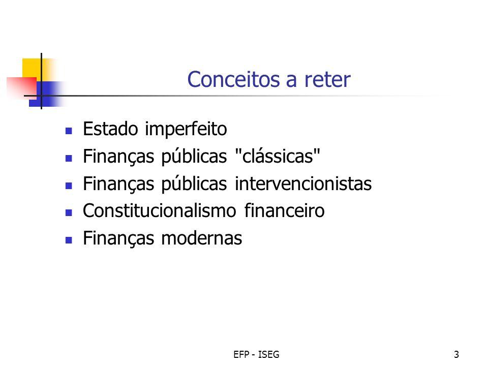 EFP - ISEG4 O Estado imperfeito Abordagem pretensamente positiva (predictiva) da actuação das entidades do sector público: Será que o Estado prossegue sempre o interesse público.
