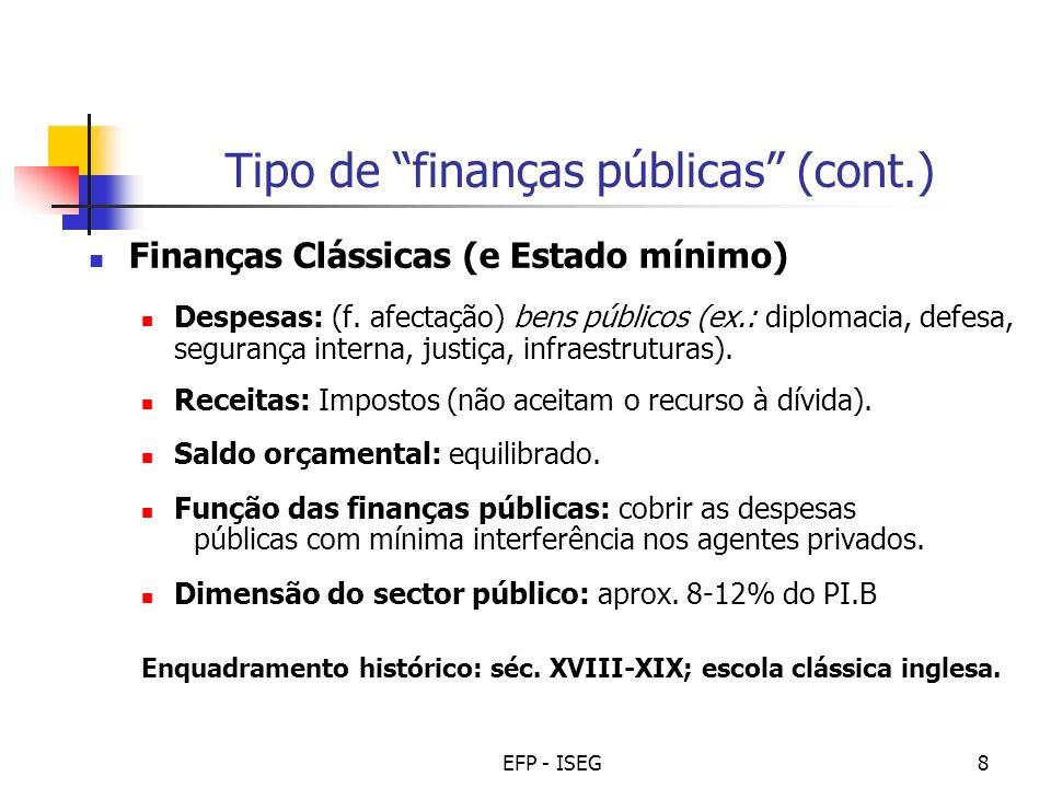 EFP - ISEG9 Tipo de finanças públicas (cont.) Finanças Intervencionistas (e Estado de Bem-estar) Despesas: (f.