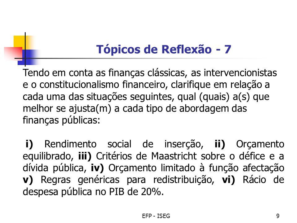 EFP - ISEG9 Tópicos de Reflexão - 7 Tendo em conta as finanças clássicas, as intervencionistas e o constitucionalismo financeiro, clarifique em relaçã